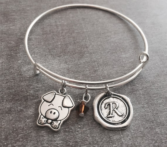 Silver Charm Bracelet Pig Jewelry Pig Gift Pig Bangle Pig