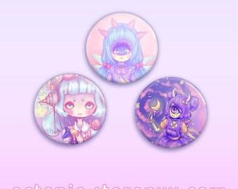 "Monster Girls 1.5"" Button / Pin / Badge"