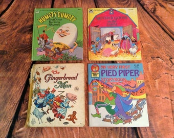 Set of 4 Children Books - Nursery Rhymes - Mother Goose on the Farm, Pied Piper, Humpty Dumpty, Gingerbread Man