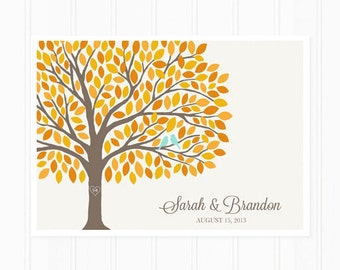 Guest Book Tree - Guest Book Alternative for 175 Guest Signatures - Fall Wedding Guestbook