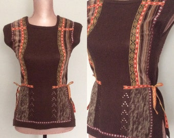 Vintage Boho Sweater Sleeveless Sweater Top Folk Shirt Bohemian Hippie Sweater Vest Pullover Russian Folk