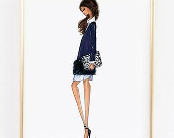 "Fashion Illustration Print, J.Crew Fall, 8x10"""