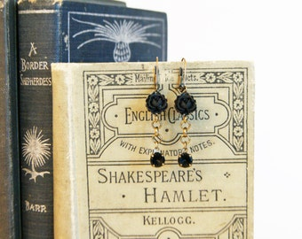 Black Rose and Vintage Glass Swirl Stones with Oxidized Brass Dangle Earrings - Handmade Vintage Style