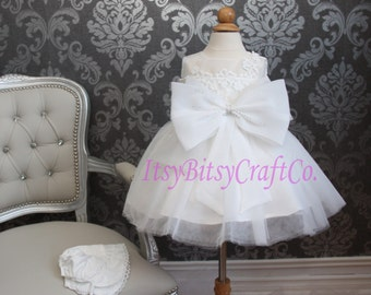 Baby girl lace baptism dress christening gown flower girl dress with Authentic Swarovski Crystal rhinestone detailing