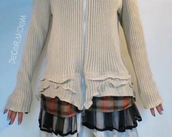 upcycled, dress, boho, cotton, ribbed sweater with zipper, Ruffles, black tulle, Scottish, white lace Bohemian dress, dress, ecru, recycled fabric