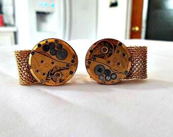Steampunk Cuff Links Vintage Mesh Gold Watch Parts Mens Accessory gift ideas Gears Watch Works formal wear prom wedding