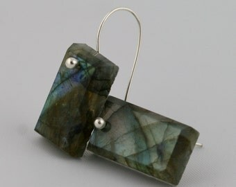 Labradorite Rectangular Drops Sterling Silver Earrings