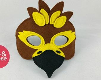 Wool felt Hawk mask for pretend play and dress up, make believe and costumes.  100% wool felt animal mask. Felt bird mask.