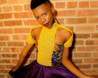 Purple African Print Dress / Ankara Purple and Gold Dress / Ankara Dress