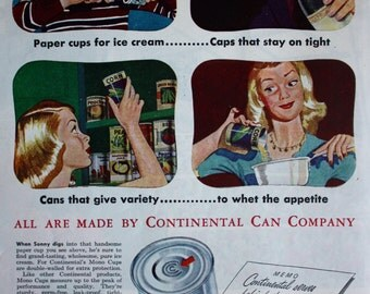 1946 Ad Continental Can Retro Kitchen art 1940's Housewife Vintage Print Ad ETK125