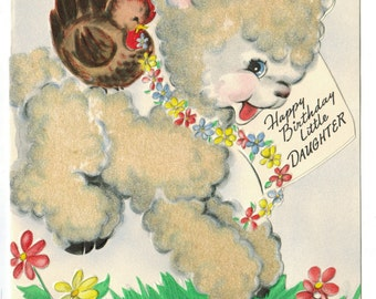 Vintage UNUSED BIRTHDAY Anthropomorphic Flocked Lamb for Daughter Colorful Die Cut Graphics 1950