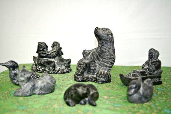 Vintage soapstone sculpture collection aboriginal lovers