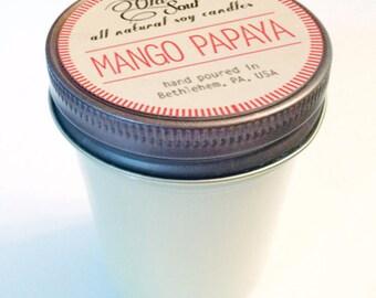 MANGO PAPAYA.  8 oz.  Natural Soy Candle.  Hand-Poured.