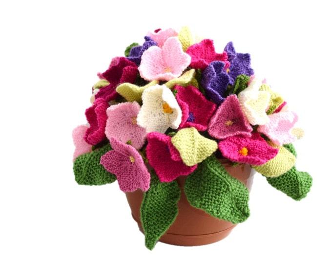 Flower knitting pattern, Knitted flower arrangement,  knitting pattern for flowers and leaves, knitted flowers, flower display, flower gift