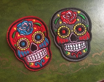 Dia de los muertos day of the dead skull embroidered patch - red or grey