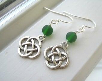 Irish Jewelry -  Celtic Knot Jewelry - Celtic Knot Earrings - St. Patrick's Day - Green Glass Earrings -  Green Jewelry - Charm Earrings
