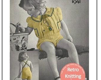 1940s Toddler Sun Suit Vintage Knitting Pattern  - PDF Knitting Pattern - PDF Instant Download
