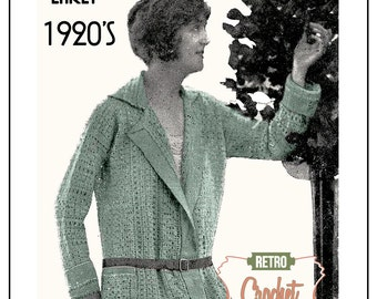 1920s Crochet Jacket - Vintage Knitting Pattern – PDF Knitting Pattern - Instant Download