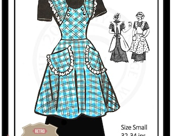 1950s Apron Sewing Pattern - PDF Sewing Pattern - Instant Download