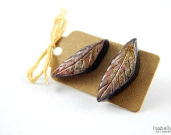 Polymer clay leaf stud earrings, christmas gift, earthy stud earrings, organic leaves, polymer clay faux ceramic technique, bohemian rustic