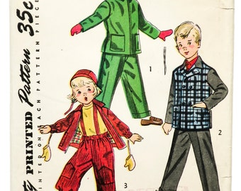 50's Simplicity 4026 - Child's Coat, Jacket, Hat and Snow Pants Pattern - Size 5 - Bust 23.5