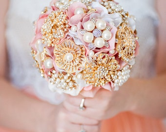 Custom Blush Silk Flower Bouquet, Pearl Brooch Bouquet, Fabric Flower Broach Bouquet, Bridesmaid Bouquet - 6 inch
