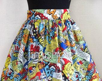 Comic skirt, maxi skirt, designer skirt, made to order