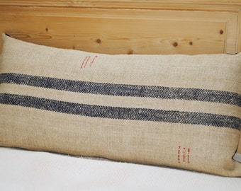 Authentic Grain Sack Body Pillow Sham Navy Blue Stripes / Antique Handwoven hemp fabric / Handmade Pillow Sham - 2S