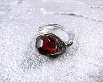 Ruby Red Ring, Red Glass Ring, Wire Wrapped Ring, Chunky Ring, Wire Wrapped Jewelry Handmade, Wire Wrapped Stone