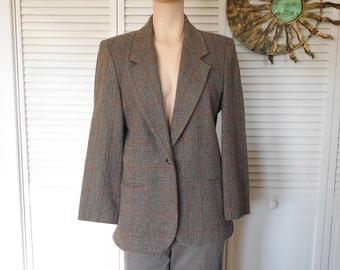 Brown Wool Blazer Herringbone Blazer Shoulder pads Fitted Size 10 petite Tweed Blazer 1 Button Closure Vintage