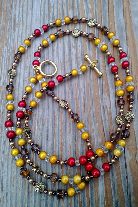 Beaded Necklace, Rustic Necklace, Bold Multi-Color Long Necklace, Autumn Leaves Golden Cranberry Colors