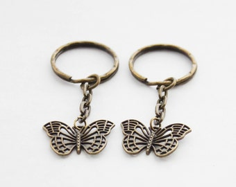 Modern Butterfly Keychains Bestie Gifts 2 Friend Keychains Butterfly Charms 2 Butterflies Key Rings Two Friendship Keychains Butterfly Gifts