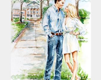 Original Custom Watercolor and Ink Couple Portrait/Wedding portrait/ Save the Date