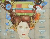 The Librarian - limited edition print of original mixed media painting