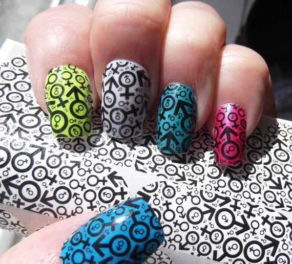 Male female symbol nail art decals mff full nail wrap like this item prinsesfo Image collections
