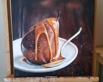 Salted Caramel Pear Realistic Oil Painting