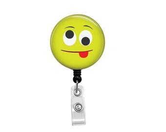Retractable Badge Reel -  ID Badge - Badge Reels - Funny Face Badge Reel - Funny Badge Reel - Funny Face Badge Reel - Goofy Badge Reel