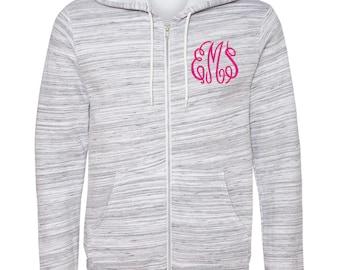 Monogrammed Caroline Cozy Full Zip Hoodie | Personalized Zip-Up Sweatshirt | Multiple Colors