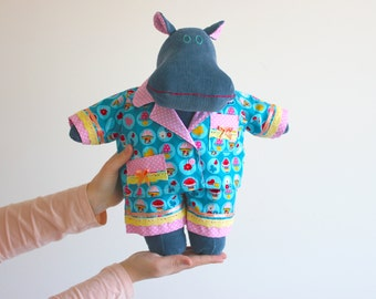 Dress up doll stuffed animal -  Gift for kids - Plush hippo - Soft doll hippopotamus - Imaginative play - Mintie the Mippo - First toy