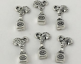 6 ink charms antique silver,20mm  # CH 197