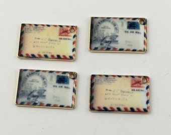 4 postcards charms gold tone and enamel , 18mm  #CH 609