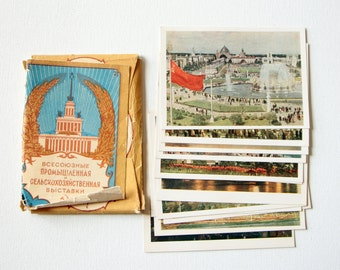 Vintage SSR Soviet postcards / set of retro greeting cards from Russia