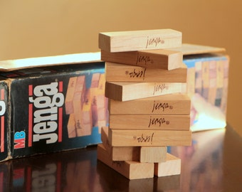 Vinatge MB Jenga wood block table game from 1986 made by Milton Bradley