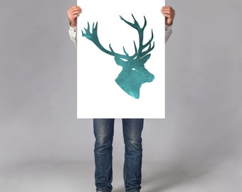 LARGE wall ART Deer Stag art print, wild animal illustration, animal portrait, minimal deer portrait on thick white paper, blue cabin decor