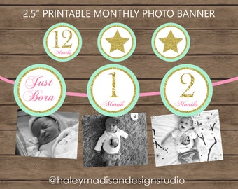 Twinkle Twinkle Little Star, 12 month photo birthday banner, stars, pink, mint green, gold glitter, banner decoration DIGITAL FILE