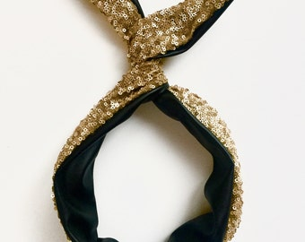 Gold Sequin and Black Faux Leather Reversible Bendable Wire Headband- Byrd Band