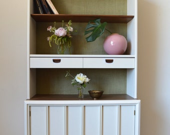 Mid Century Modern Painted Hutch, Boho, Refinished, Dining Room, Storage