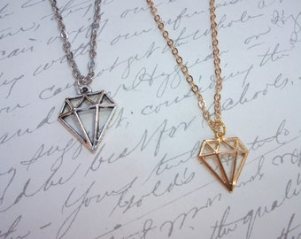 Diamond shape pendant minimalist necklace gold or silver