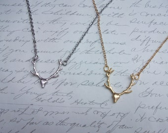 Deer antler necklace in gold or silver