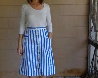 Striped Midi Skirt / Vintage High Waisted / Large